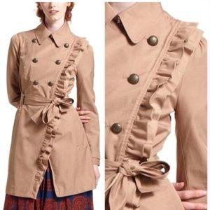 Anthro | Elevenes Ruffle Trench Coat